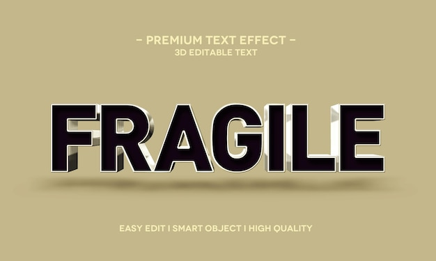 Fragile 3d text style effect template