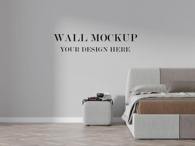 レトロでモダンなベッドルームの3d壁モックアップの断片