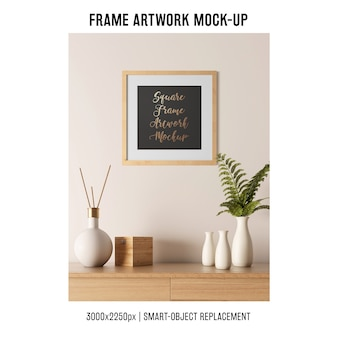 Frame artwork mockup with plant