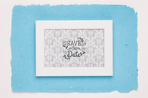 Frame on blue background save the date mock-up