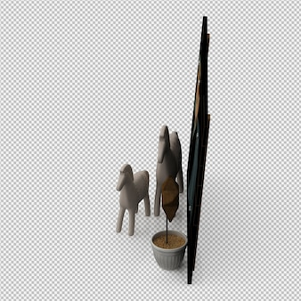 Frame board and hourses and small plant 3drender