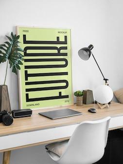 Frame on desk mockup