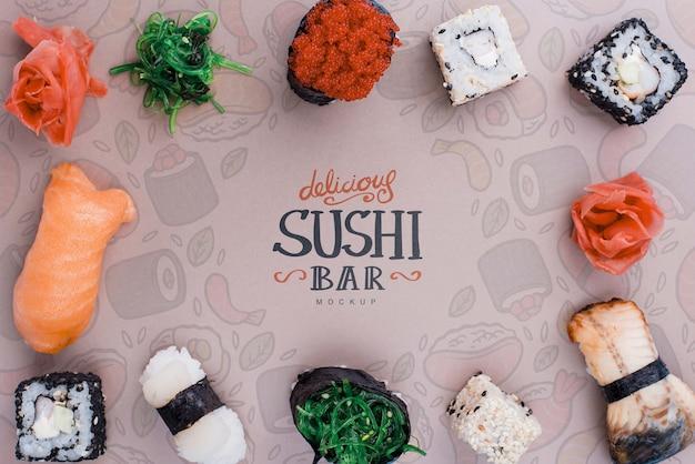 Frame of deslicious sushi rolls