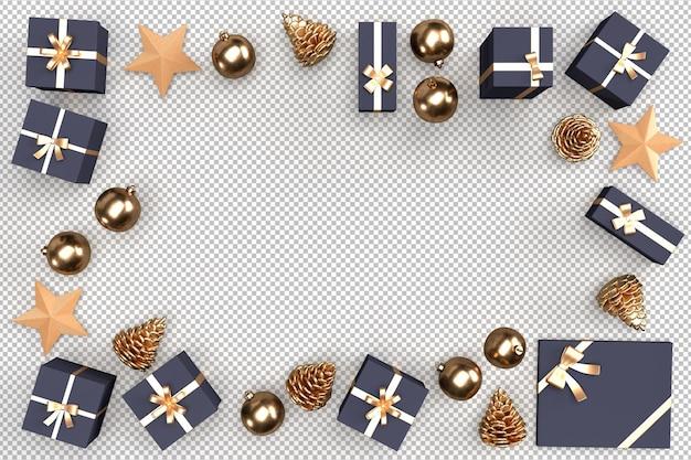 Рама сформирована из рождественских подарочных коробок и украшений. 3d-рендеринг