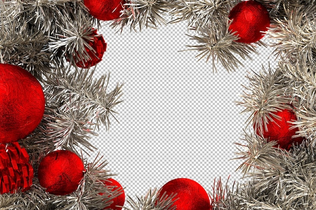 Frame formed with pine twigs and decorative red christmas balls. isolated. 3d rendering