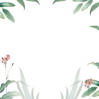 Frame of green leaves design