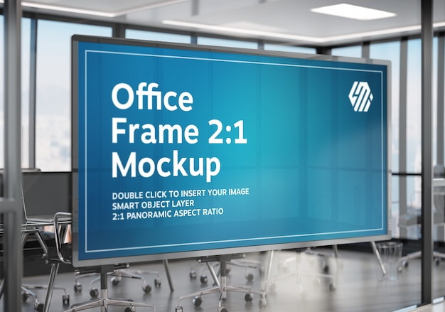 Frame hanging on office glass window mockup