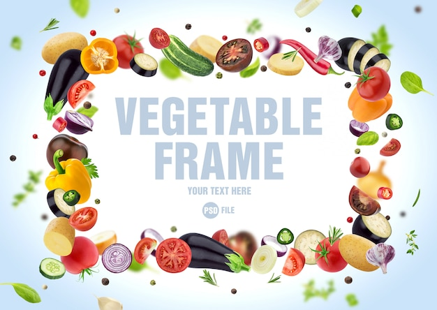 Frame made of different vegetables