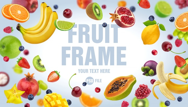 Frame made of fruits and berries isolated on white background