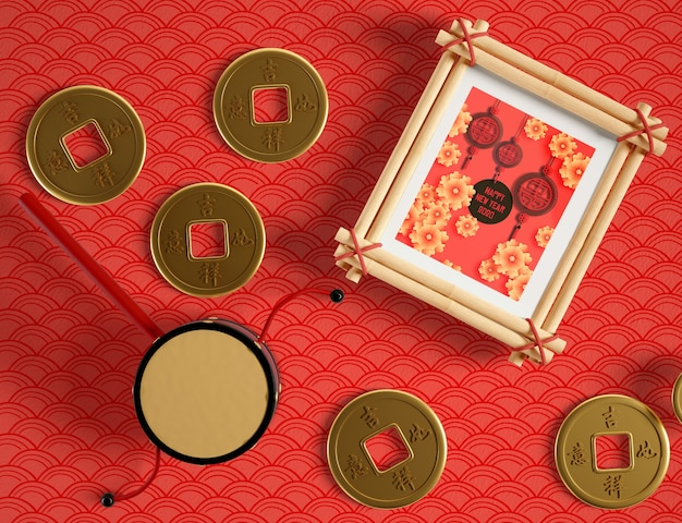 Frame mock up and chinese golden coins