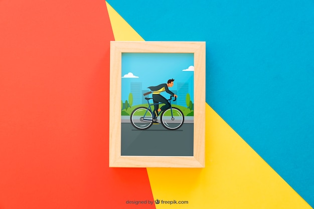 Frame mock up on colorful background