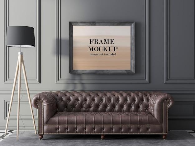 Макет рамы над диваном честер в классическом интерьере