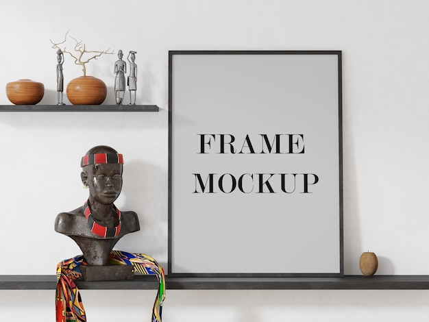 Frame mockup in afrocentric interior