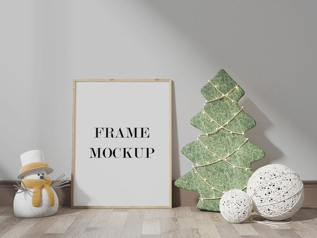 Frame mockup beside snowman 3d visualization