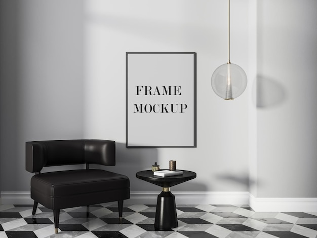 Frame mockup in black and white retro modern interior