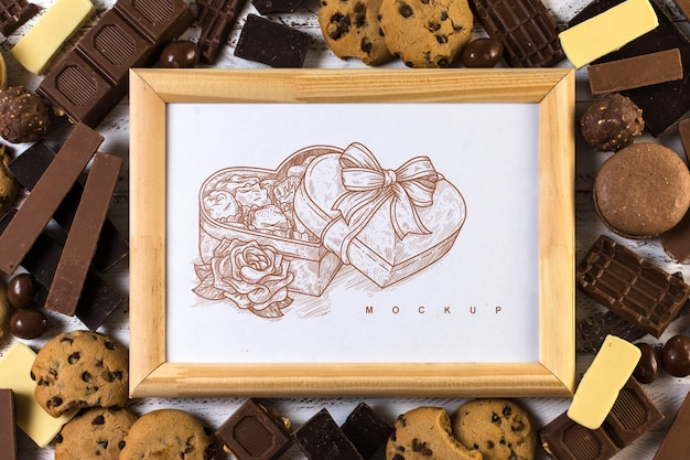 Frame mockup on chocolate background