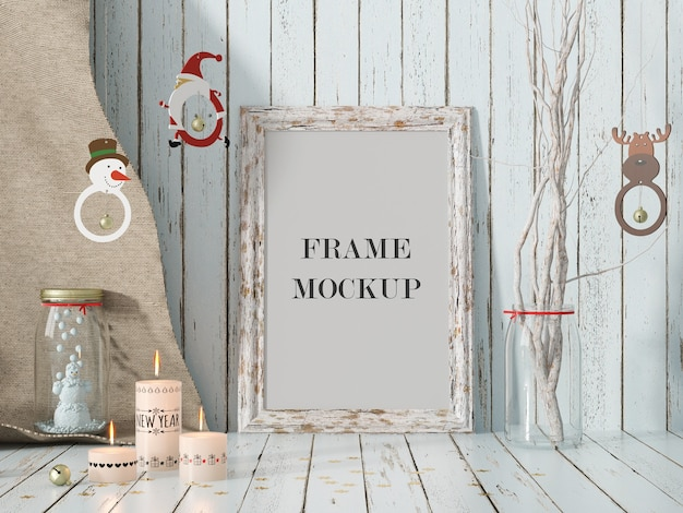 Frame mockup for christmas and new year holiday