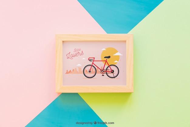Frame mockup on colorful background