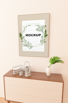 Frame mockup above cupboard