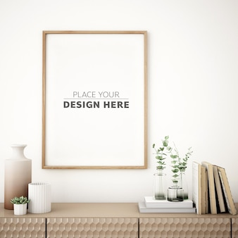 Frame mockup design on cabinet with modern furniture