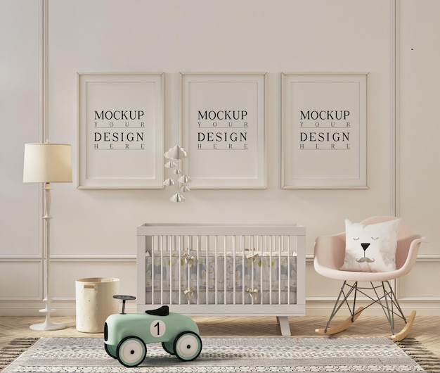 Frame mockup design in cute nursery room
