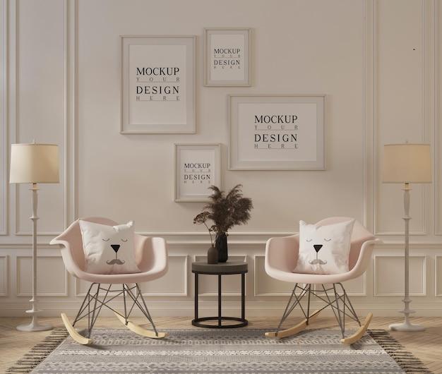 モダンでクラシックなリビングルームのフレームモックアップデザイン