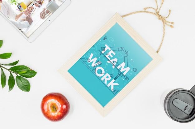 Frame mockup on desk