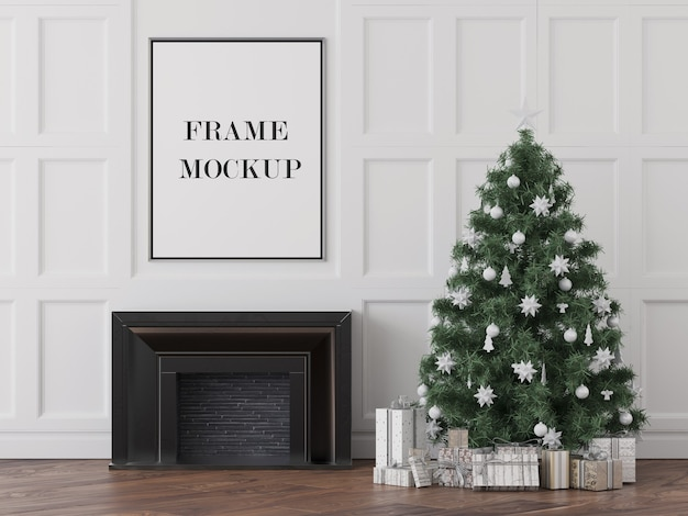 Frame mockup above fireplace new year's eve
