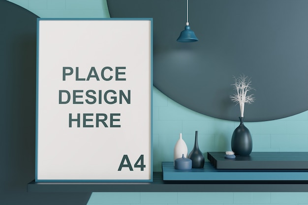 Frame mockup hanging on the wall with vase in bluish color palette