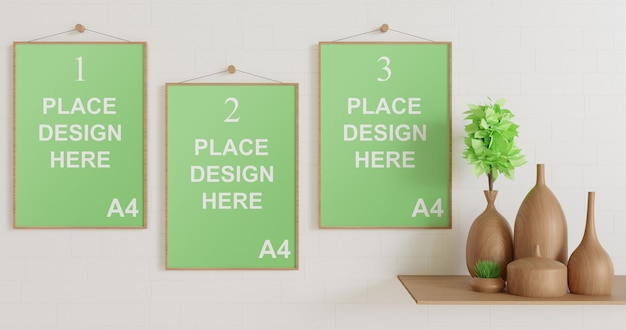 Frame mockup hanging on the wall with wooden vase Premium Psd