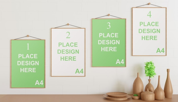 Frame mockup hanging on the wall with wooden vase
