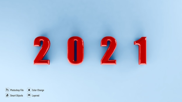 Frame mockup for happy new year 2021 isolated
