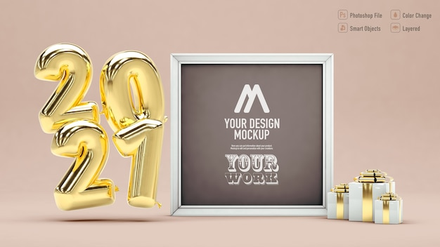 Frame mockup for happy new year 2021 with balloons and gifts
