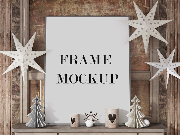 Frame mockup for happy new year with accessories