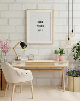 Рамка макет в домашней рабочей комнате, минималистский дизайн рабочего пространства. 3d визуализация