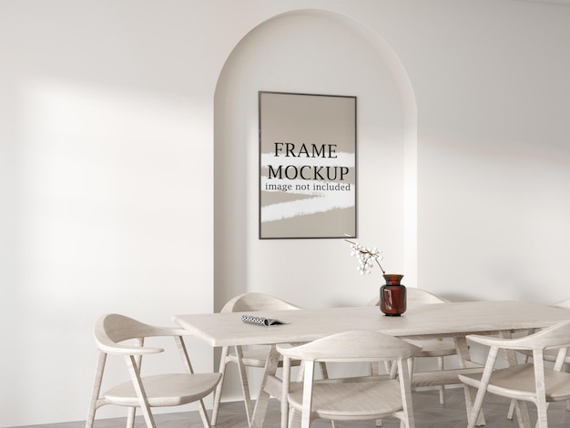 Frame mockup inside arch on white wall