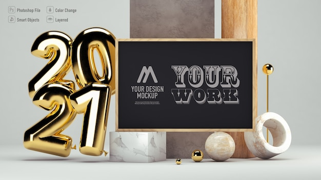 Frame mockup isolated for happy new year 2021 isolated