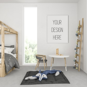 Frame mockup in kids room with white vertical frame