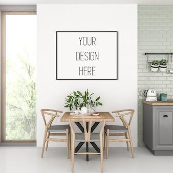 Каркасный макет, кухня с черной горизонтальной рамой, скандинавский интерьер