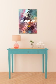 Frame mockup above little table
