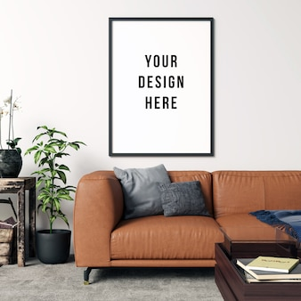 Frame mockup living room interior with decorations