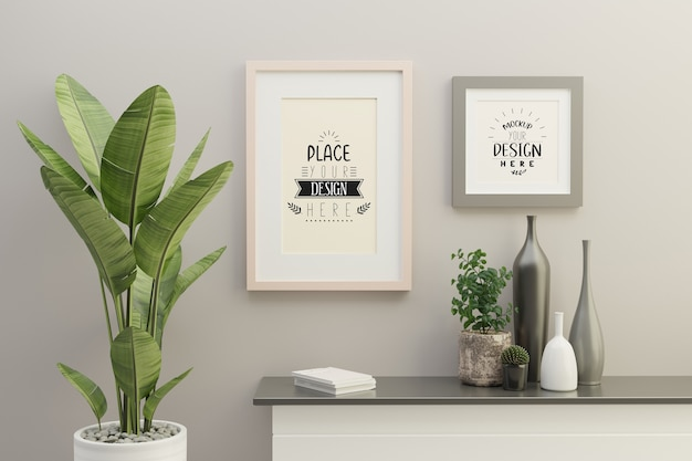 Frame mockup in living room interior