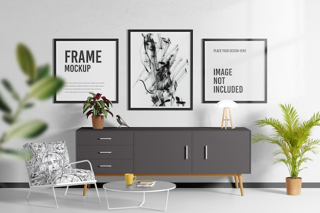 Frame mockup in living room ps