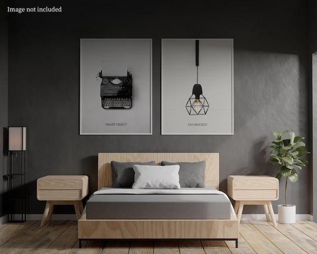 Frame mockup in minimal bedroom premium psd