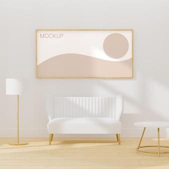 흰색 가구와 흰색 인테리어 방에 프레임 모형 3d 렌더링