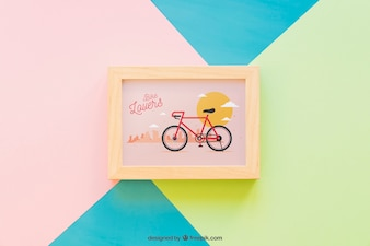 Frame mockup on colorful background