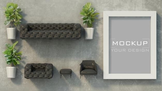 家具と植木鉢とコンクリートの壁のフレームモックアップ