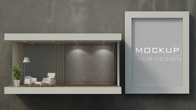 Макет рамы на бетонной стене с гостиной