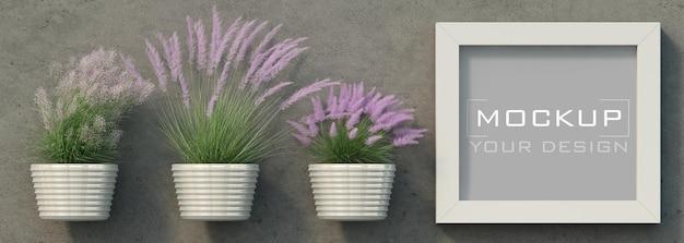 鉢植えの観賞用草とコンクリート壁のフレームモックアップ