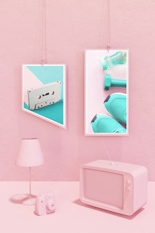 Frame mockup in pink pop style